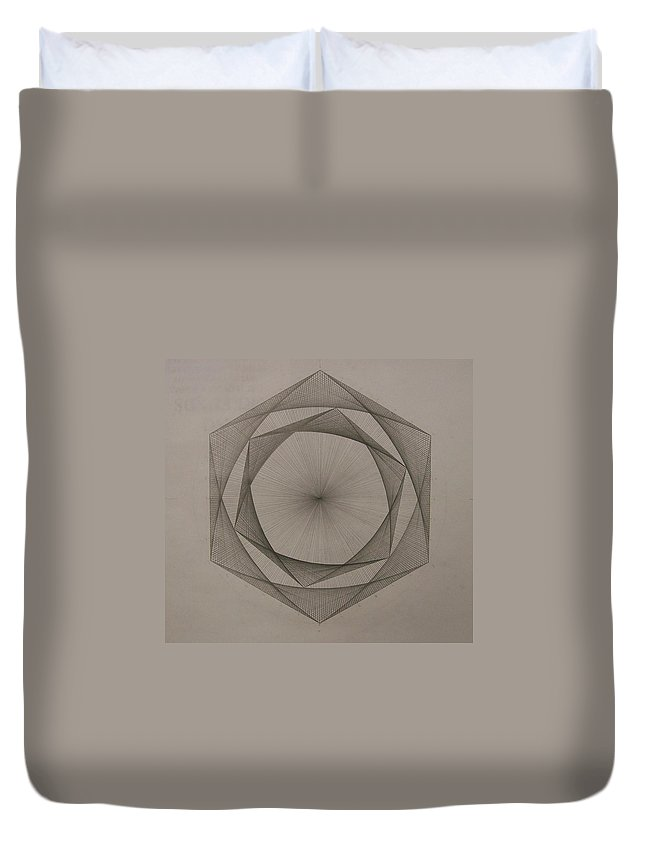 Fractal Duvet Cover featuring the drawing Solar Spiraling by Jason Padgett