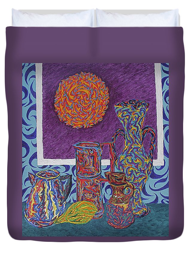 Still Life Duvet Cover featuring the painting Soleil De Puteaux by Robert SORENSEN
