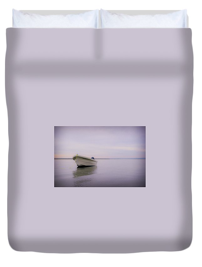3scape Photos Duvet Cover featuring the photograph Solitary Boat by Adam Romanowicz