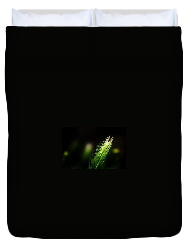 Green Duvet Cover featuring the photograph Solitary by Jessica Shelton