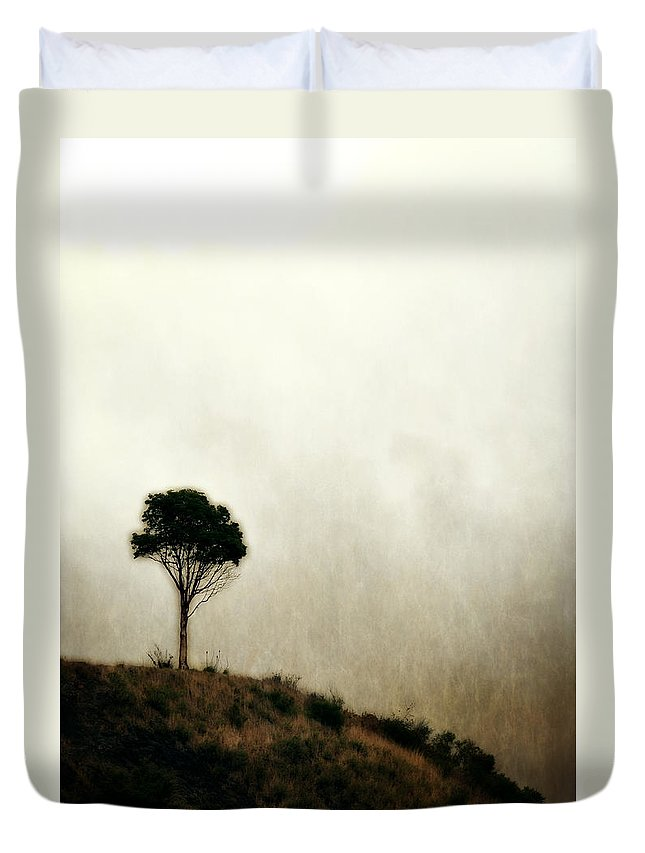 Tree Duvet Cover featuring the photograph Solitary Tree by Michelle Calkins