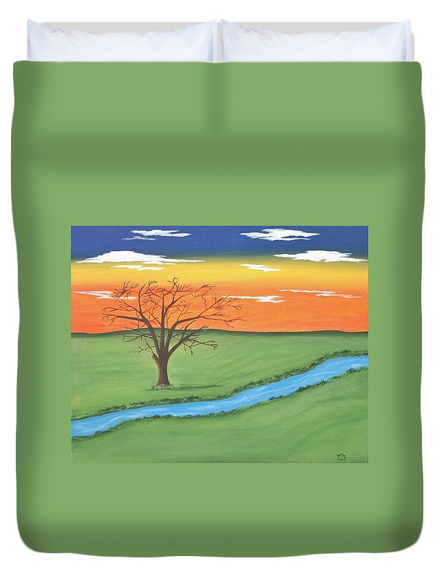 Tree Duvet Cover featuring the painting Solitude by Melanie Blankenship