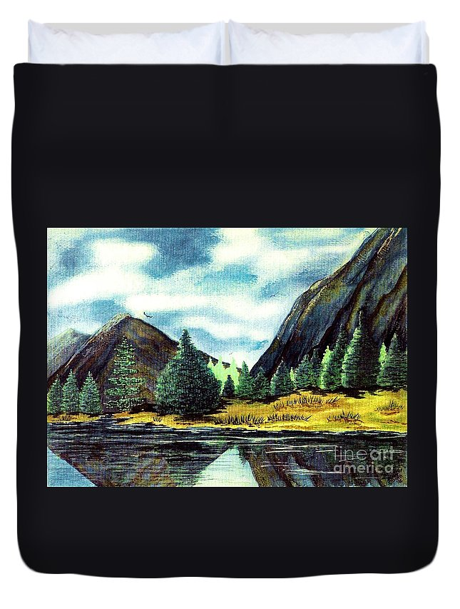 Fine Art Duvet Cover featuring the painting Solitude by Patricia Griffin Brett