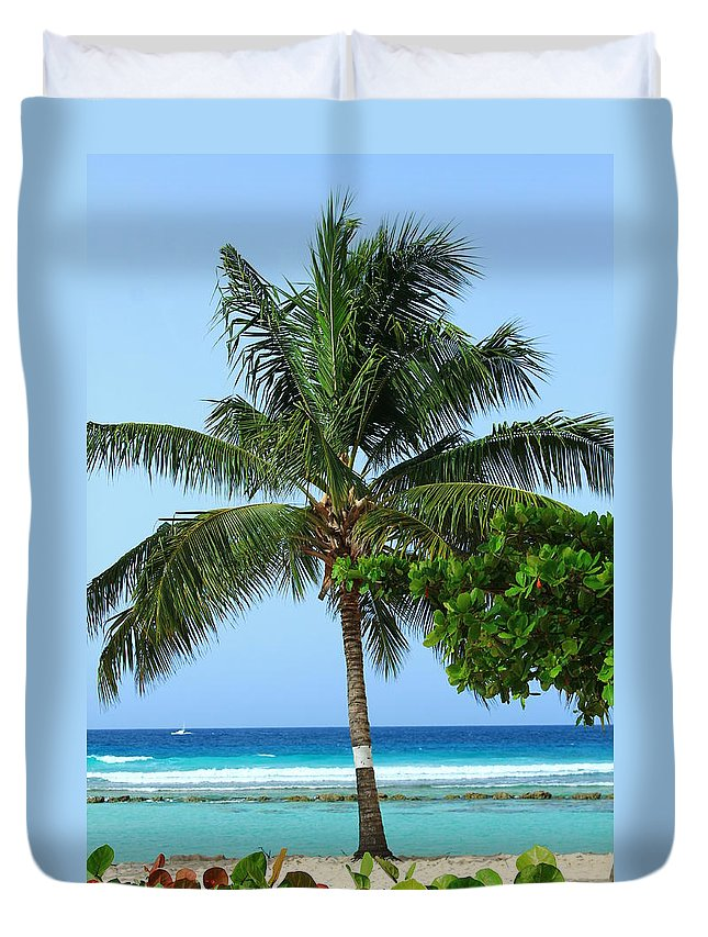 Barbados Duvet Cover featuring the photograph Solo Palm by Catie Canetti