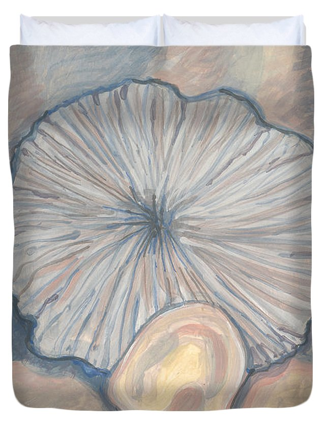 Sand Dollar Duvet Cover featuring the painting Soft And Hard Radiates by Richard Glen Smith