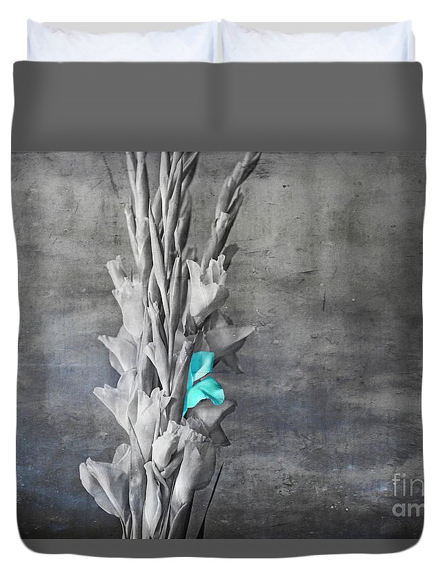 Blue Duvet Cover featuring the digital art Some Blue by Lori Frostad