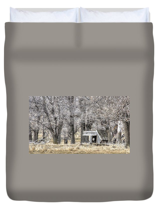 Country Duvet Cover featuring the photograph Someone Tipped Over The Two Holer by M Dale