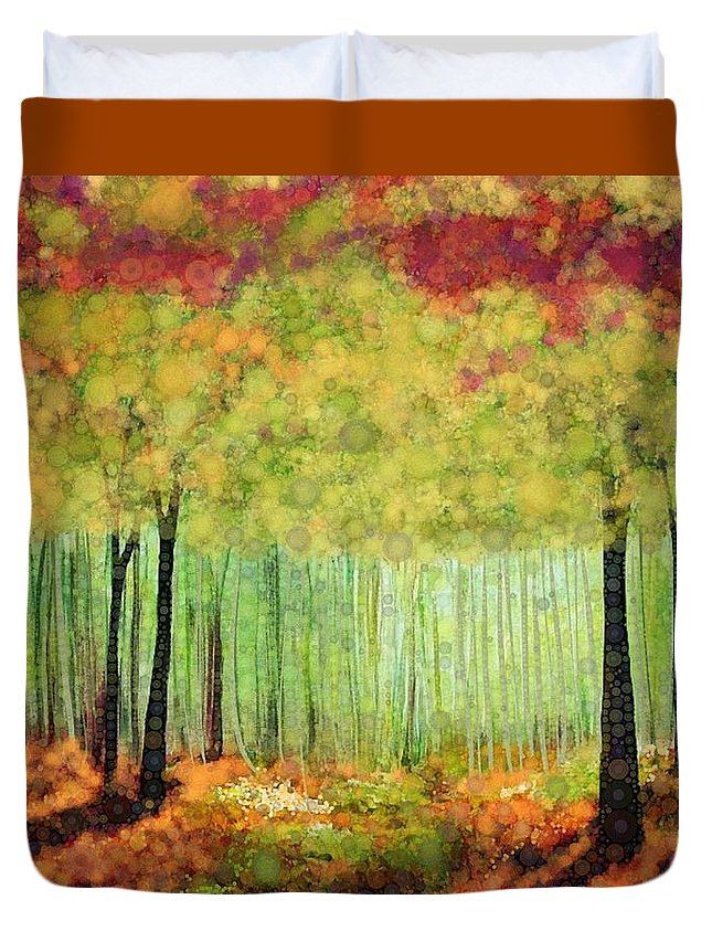 Magical Fall Colors That Invite Your Imagination To Dream. Delicate White Flowers Dot The Landscape Duvet Cover featuring the digital art Something Good by Steven Boland