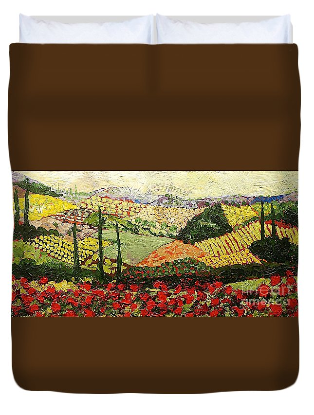Landscape Duvet Cover featuring the painting Something Red by Allan P Friedlander