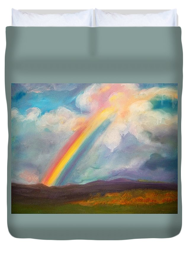 Rainbow Duvet Cover featuring the painting Somewhere Over The Rainbow by Anne Cameron Cutri