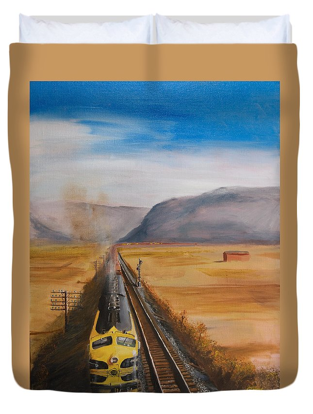 Train Duvet Cover featuring the painting Somewhere West Of Corning by Christopher Jenkins