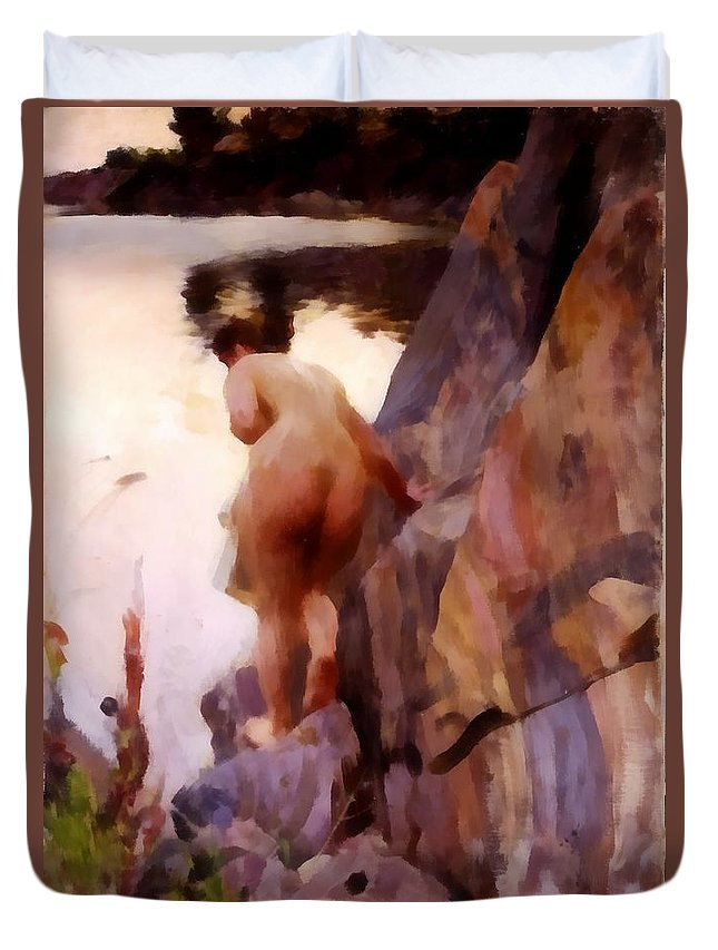 Anders Zorn Duvet Cover featuring the digital art Sommerabend by Anders Zorn