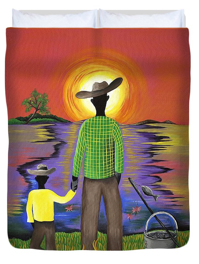 Gullah Art Duvet Cover featuring the painting Son Raise by Patricia Sabree