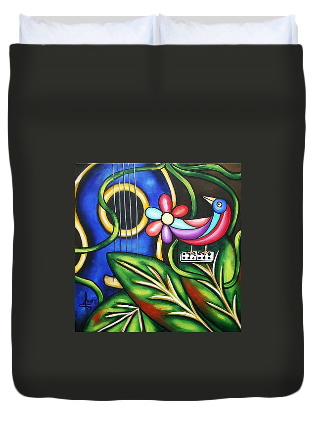 Cuba Duvet Cover featuring the painting Songbird by Annie Maxwell