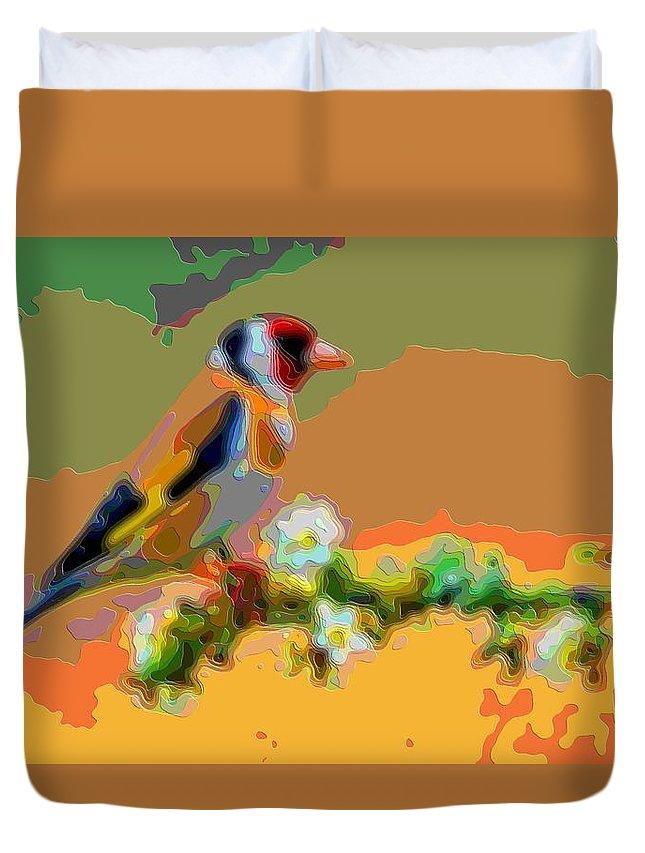 Bird Duvet Cover featuring the digital art Songbird by Mary Clanahan