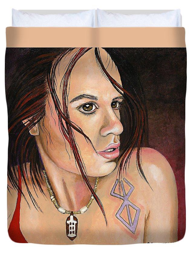 Portrait Duvet Cover featuring the painting Sonja #2 by Brigitte Meskey