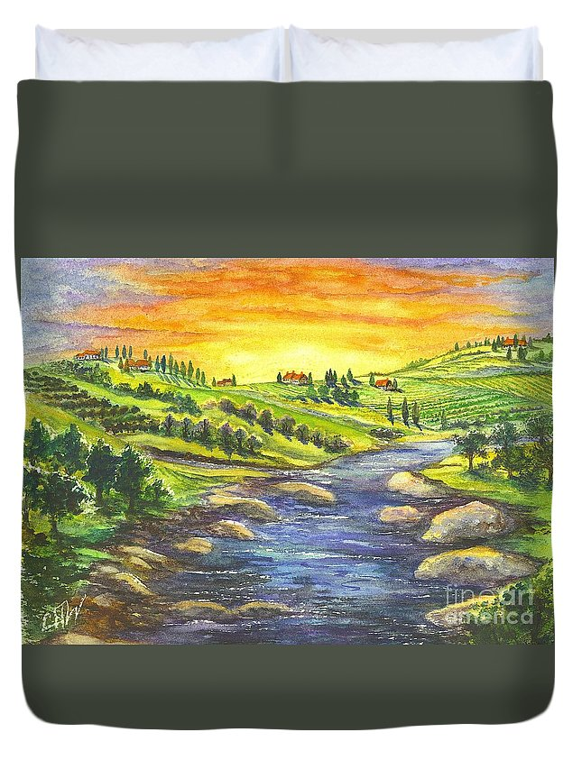 Villa Duvet Cover featuring the painting Sonoma Country by Carol Wisniewski