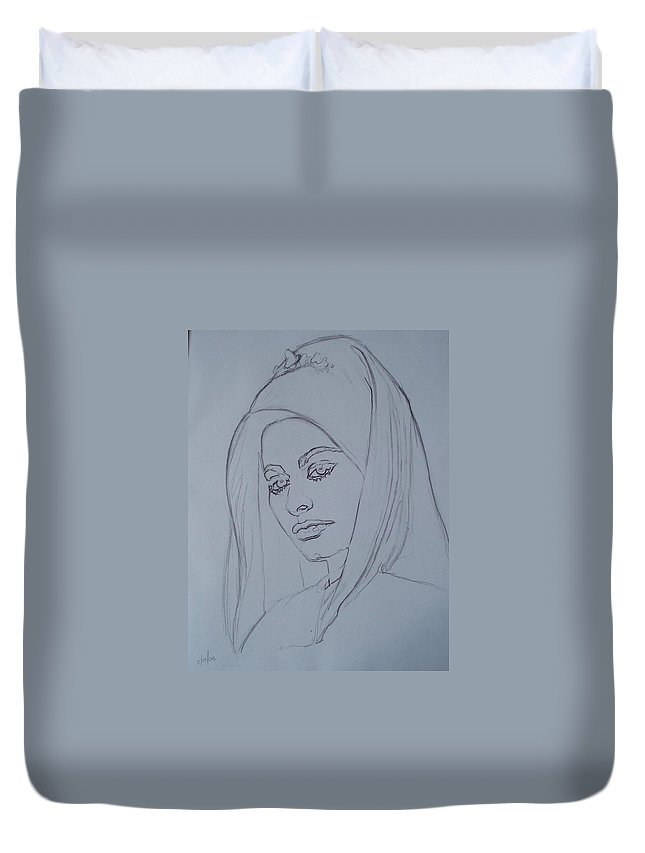 Woman Duvet Cover featuring the drawing Sophia Loren In Headdress by Sean Connolly