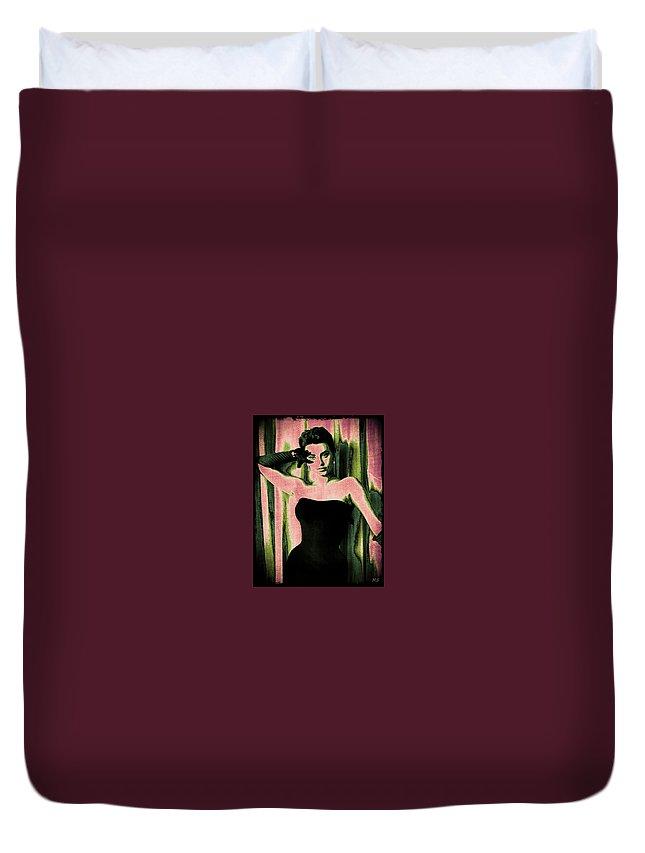 Sophia Loren Duvet Cover featuring the digital art Sophia Loren - Pink Pop Art by Absinthe Art By Michelle LeAnn Scott