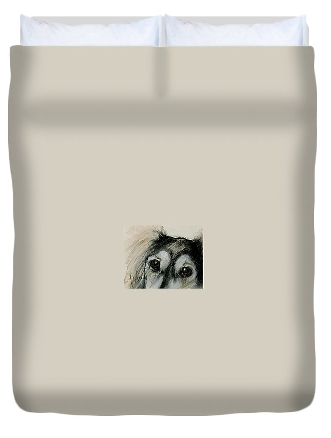 Saluki Duvet Cover featuring the drawing Sophia's Eyes by Cori Solomon