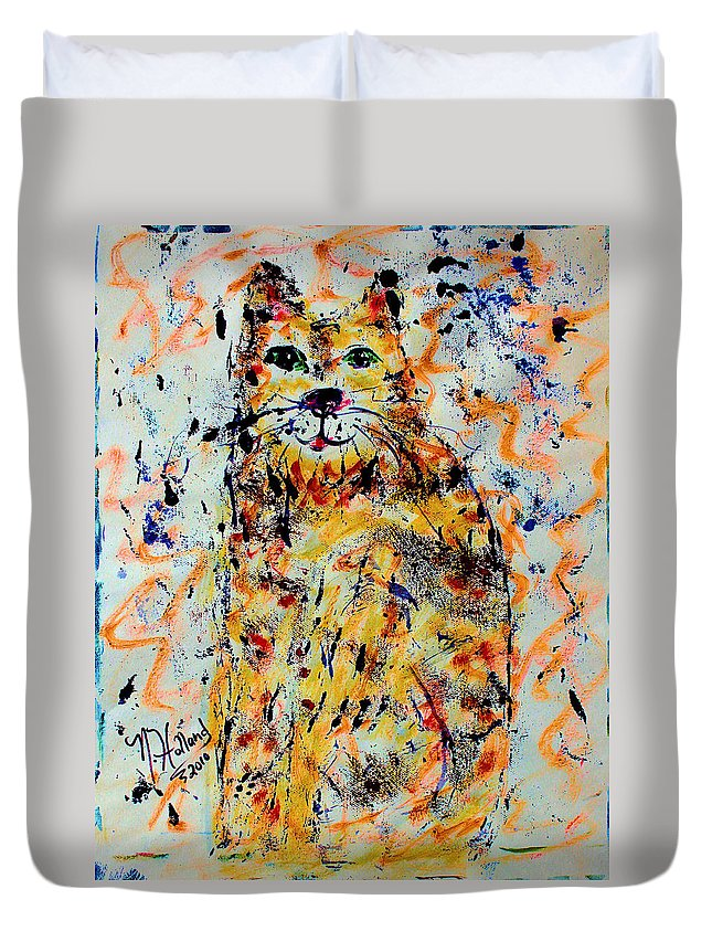 Expressionism Duvet Cover featuring the painting Sophisticated Cat 3 by Natalie Holland