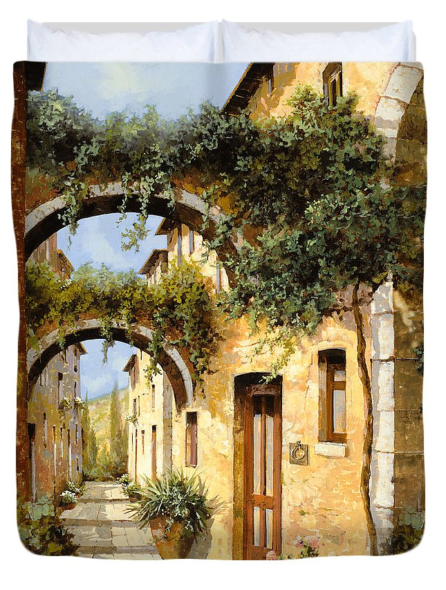 Arch Duvet Cover featuring the painting Sotto Gli Archi by Guido Borelli