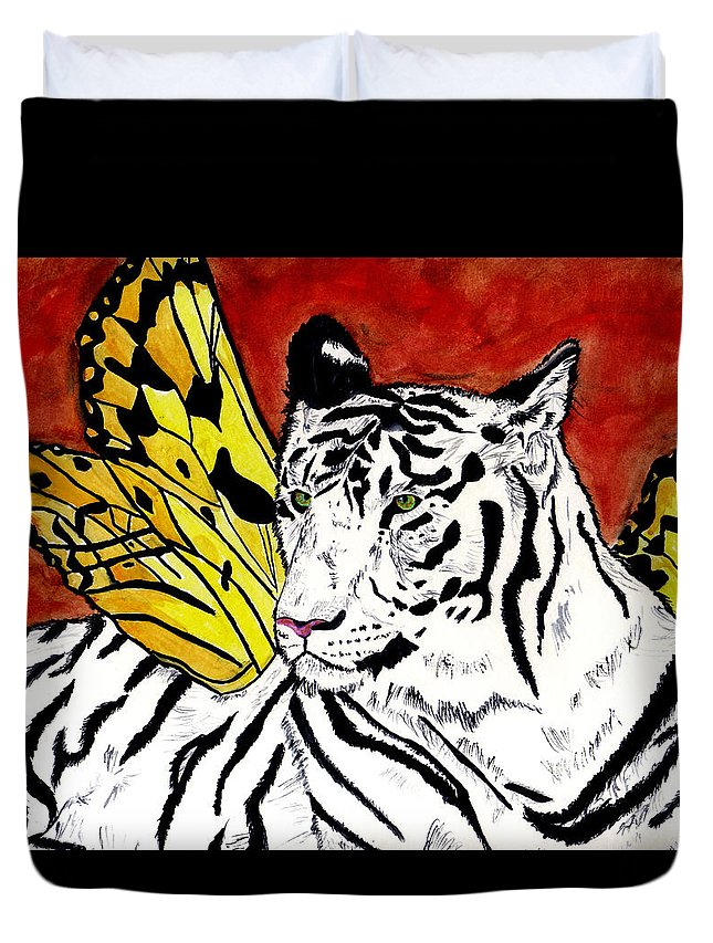 Tiger Duvet Cover featuring the painting Soul Rhapsody by Crystal Hubbard