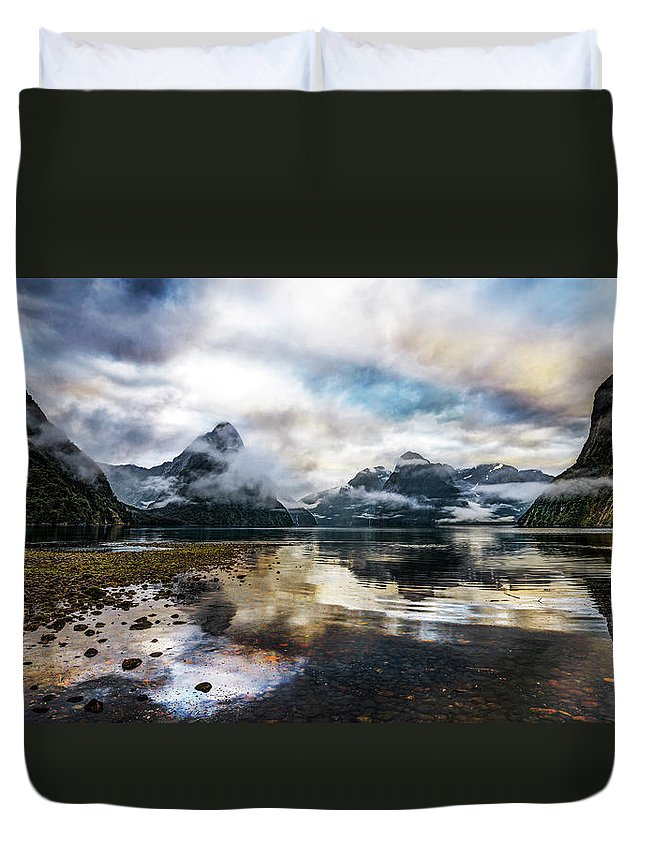 Scenics Duvet Cover featuring the photograph Sound Asleep | Fiordland, New Zealand by Copyright Lorenzo Montezemolo