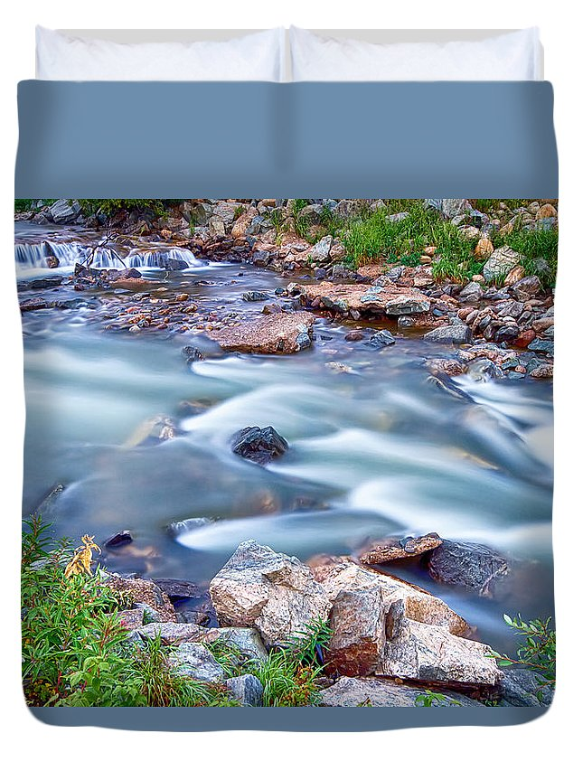 Creek Duvet Cover featuring the photograph South Boulder Creek Little Waterfalls Rollinsville by James BO Insogna
