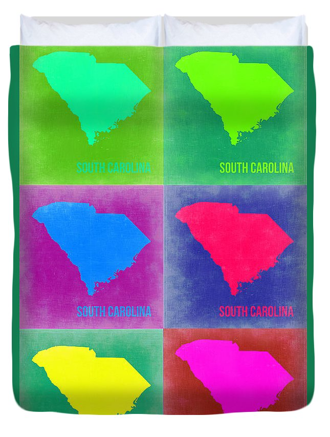 South Carolina Map Duvet Cover featuring the painting South Carolina Pop Art Map 2 by Naxart Studio