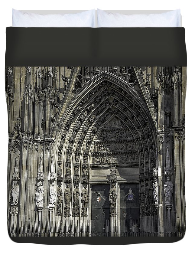 2014 Duvet Cover featuring the photograph South Entrance Cologne Cathedral by Teresa Mucha
