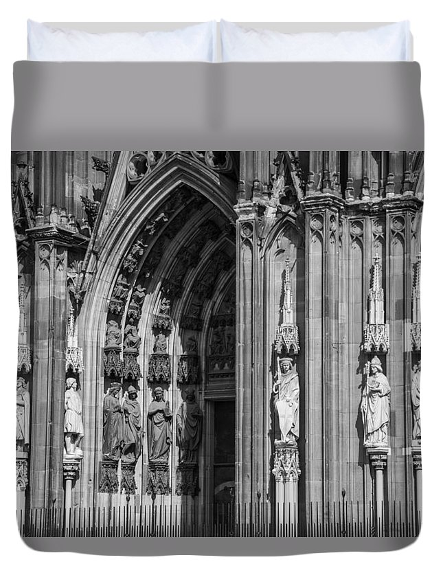 2014 Duvet Cover featuring the photograph South Entrance Detail Cologne Cathedral by Teresa Mucha