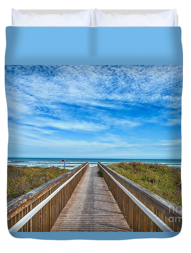 Padre Island Duvet Cover featuring the photograph South Padre Island Walkway by Tod and Cynthia Grubbs