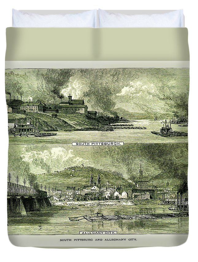 Downtown District Duvet Cover featuring the digital art South Pittsburgh And Allegheny City by Nicoolay