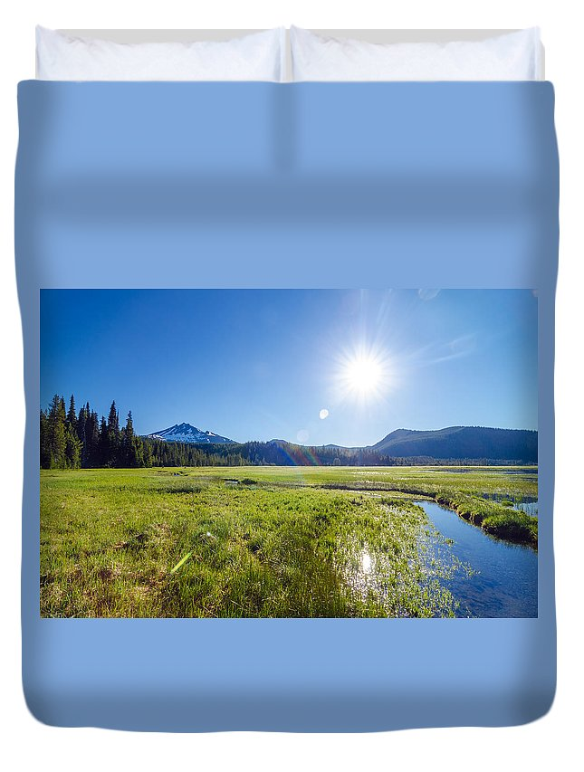 Mountain Duvet Cover featuring the photograph South Sister Wide Angle by Jess Kraft