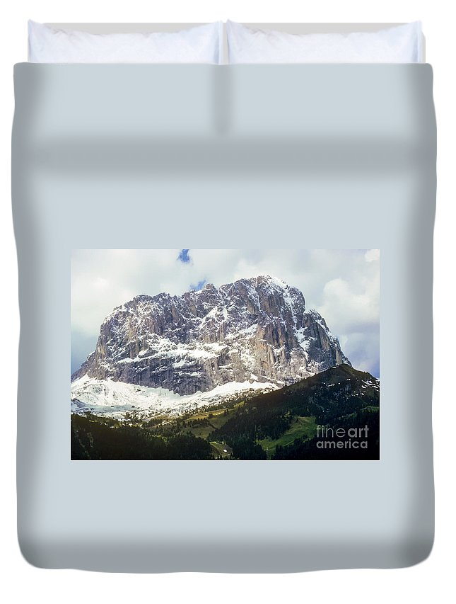South Tyrol Mountain Mountains Tree Trees Hillside Hillsides Snow Rock Landscape Landscapes Snowscape Snowscapes Italy Tyrolean Alps Duvet Cover featuring the photograph South Tyrol by Bob Phillips