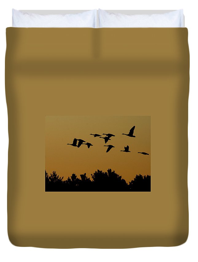 Geese Duvet Cover featuring the photograph Southbound by Neal Eslinger