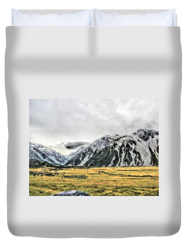 New Zealand Duvet Cover featuring the photograph Southern Alps Nz by C H Apperson