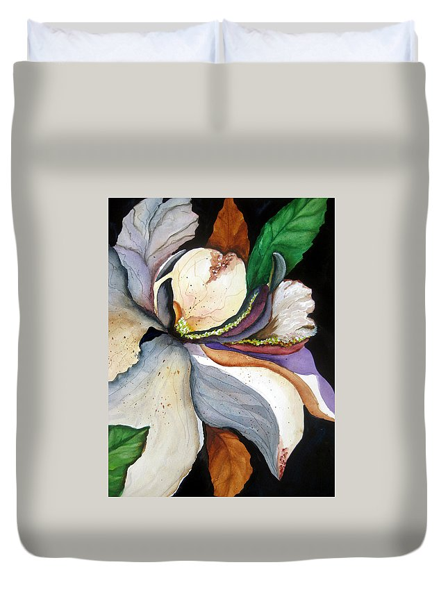 Flower Music Duvet Cover featuring the painting White Glory II by Lil Taylor