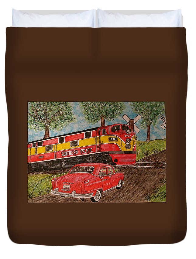 Southern Pacific Railroad Duvet Cover featuring the painting Southern Pacific Train 1951 Kaiser Frazer Car Rr Crossing by Kathy Marrs Chandler