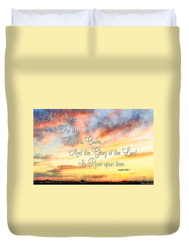 Nature Duvet Cover featuring the photograph Southern Sunset - Digital Paint IIi With Verse by Debbie Portwood