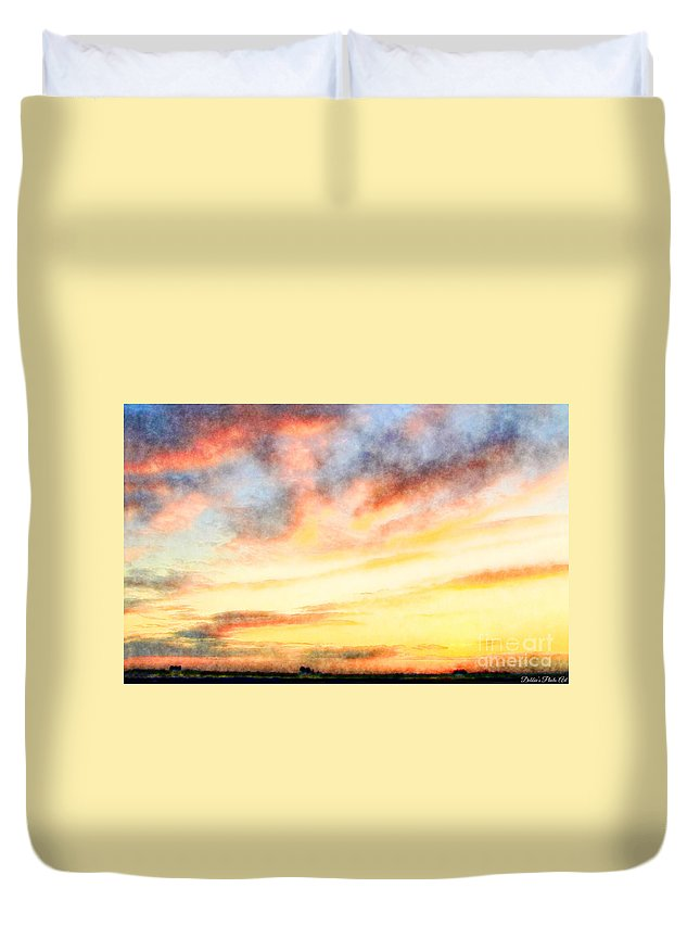 Nature Duvet Cover featuring the photograph Southern Sunset - Digital Paint Iv by Debbie Portwood