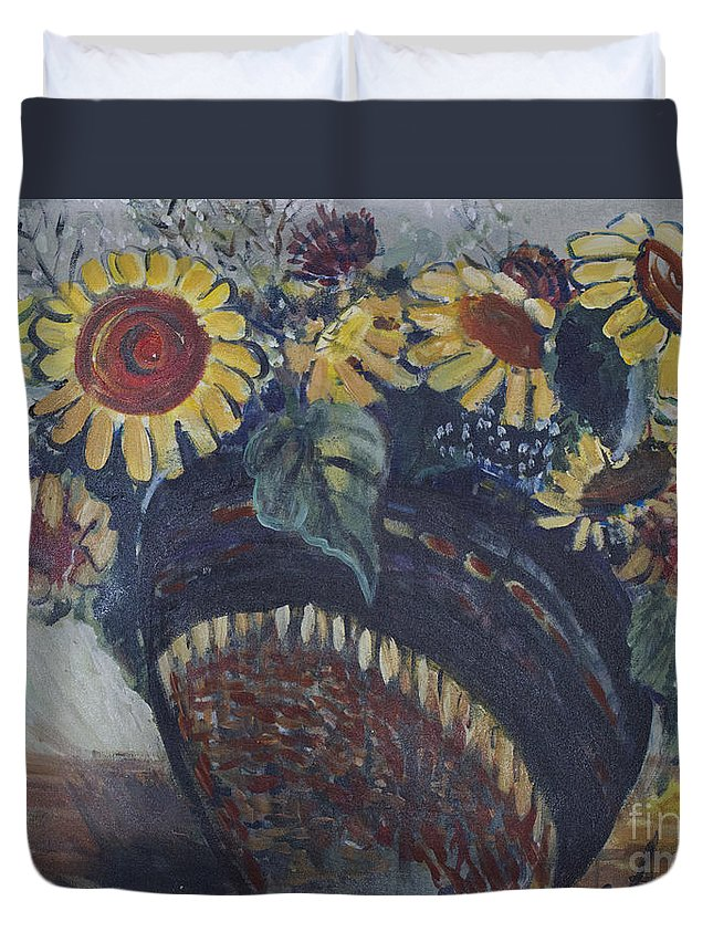 Sunflowers Duvet Cover featuring the painting Southwest Sunflowers by Avonelle Kelsey