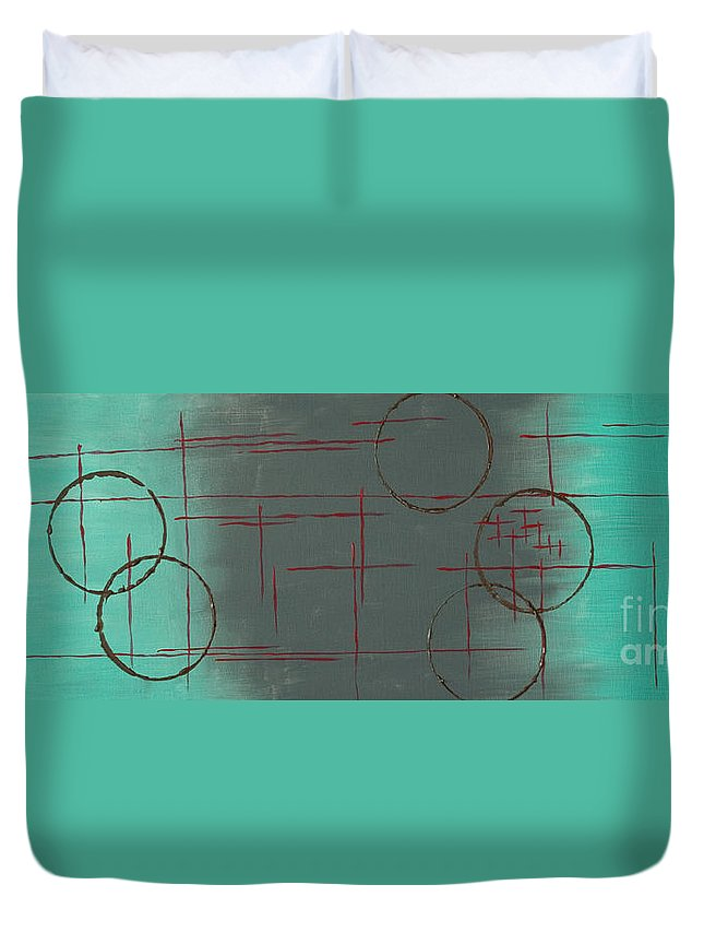 Space Duvet Cover featuring the painting Space Configuration by Paulette B Wright