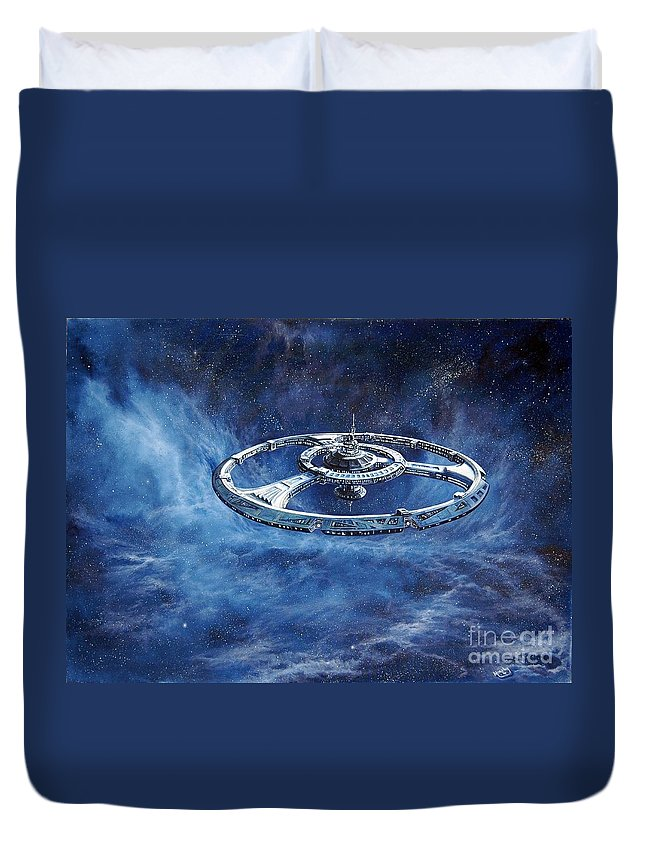 Sci-fi Duvet Cover featuring the painting Deep Space Eight Station Of The Future by Murphy Elliott