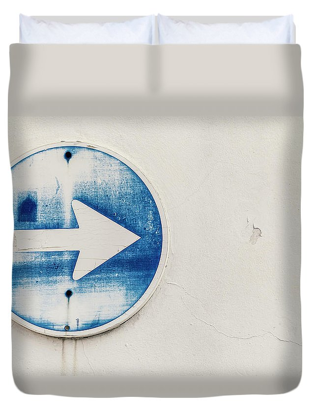 Outdoors Duvet Cover featuring the photograph Spain, Arrow Sign, Close Up by Westend61