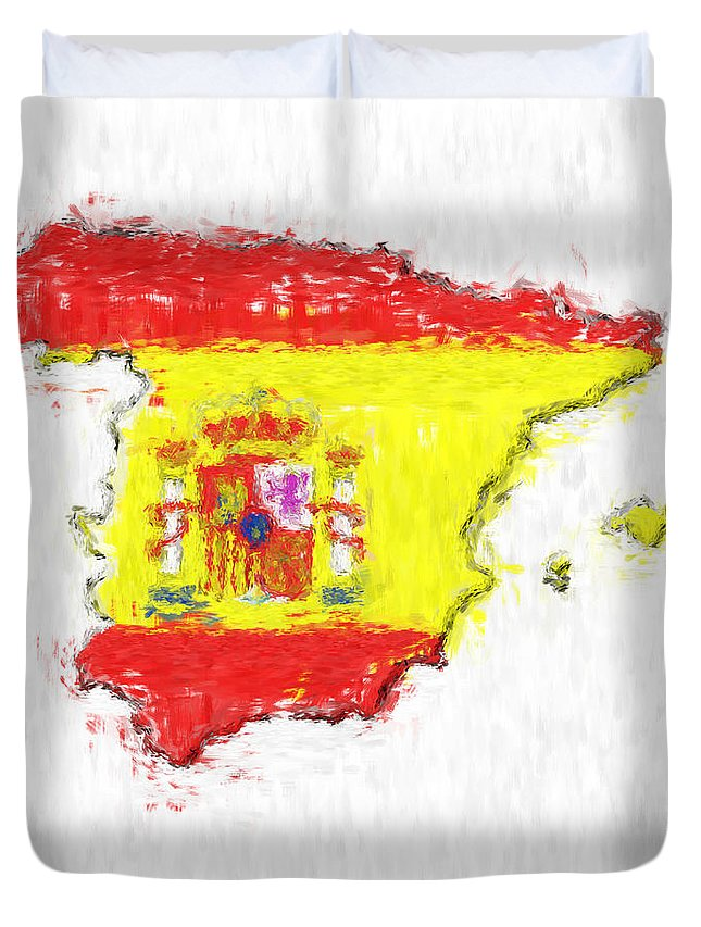 Spain Duvet Cover featuring the photograph Spain Painted Flag Map by Antony McAulay