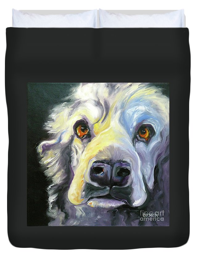 Dogs Duvet Cover featuring the painting Spaniel In Thought by Susan A Becker