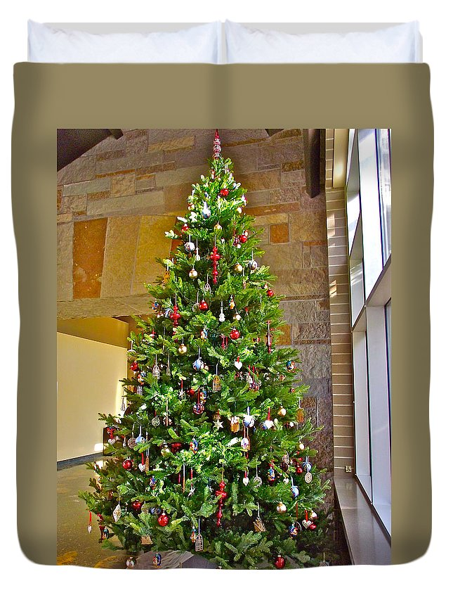 spanish christmas tree decorations in fredrik meijer gardens and sculpture park in grand rapids duvet cover