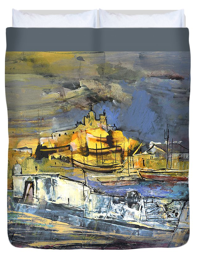 Travel Duvet Cover featuring the painting Spanish Harbour 03 by Miki De Goodaboom